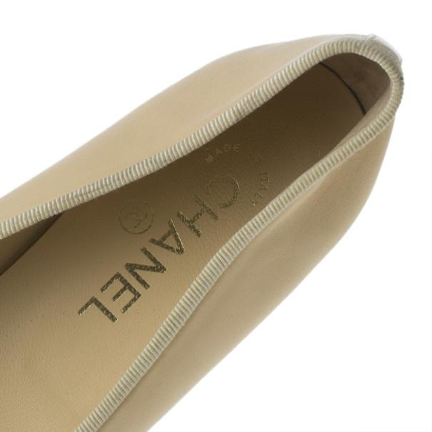 Chanel Beige Leather CC Cap Toe Ballet Flats Size 38