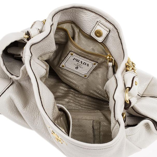 Prada White Patent Leather Deerskin Chain Tote