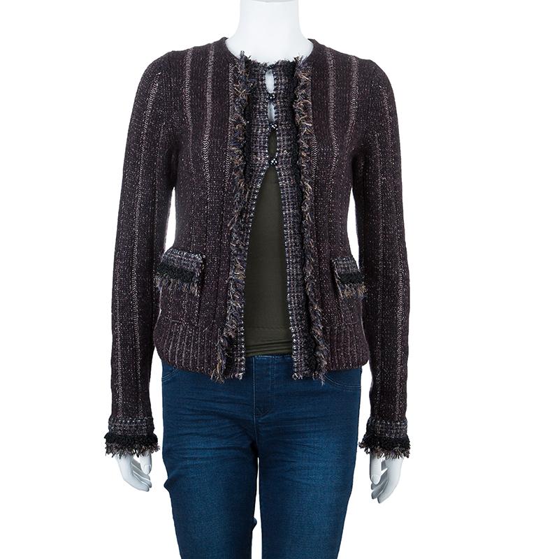 Chanel Plum Cashmere Knit Cardigan S