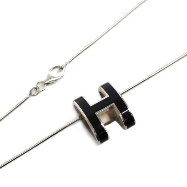Hermes Black Laquered Pop H Pendant Necklace