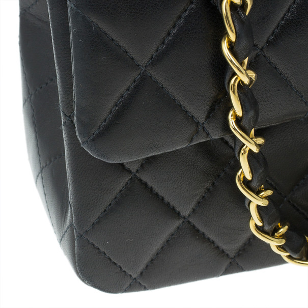 Chanel Black Lambskin Leather Small Single Flap Bag