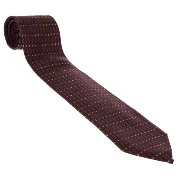 Hermes Purple Diamond Print Silk Tie