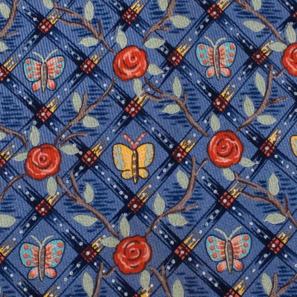 Hermes Blue Butterfly and Floral Print Silk Tie