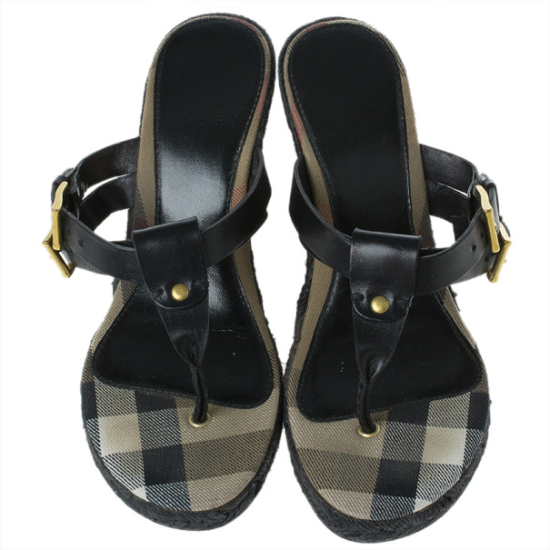 Burberry Black Leather Thong Espadrilles Wedges Size 38