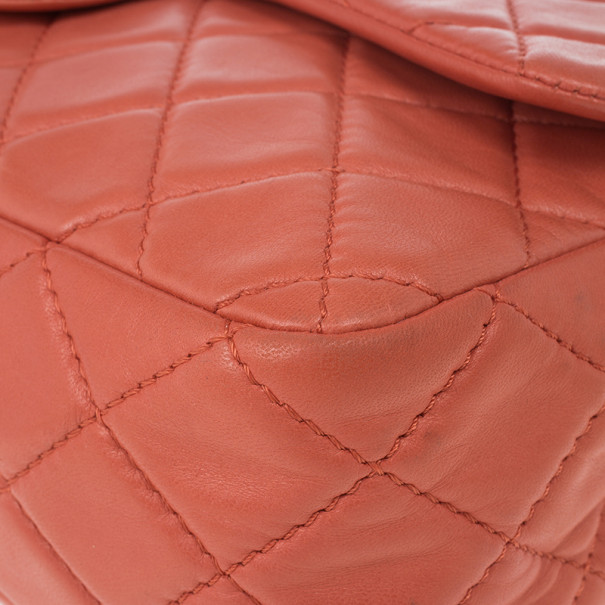 Chanel Orange Lambskin Quilted Maxi Flap Bag
