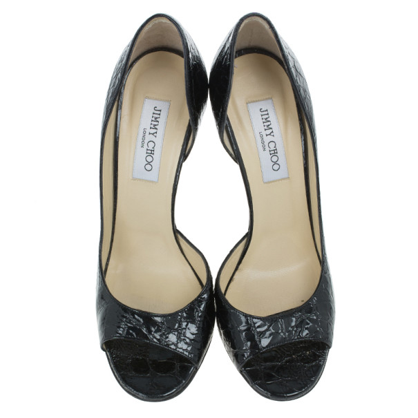 Jimmy Choo Black Croc Embossed Leather D'orsay Pumps Size 39.5