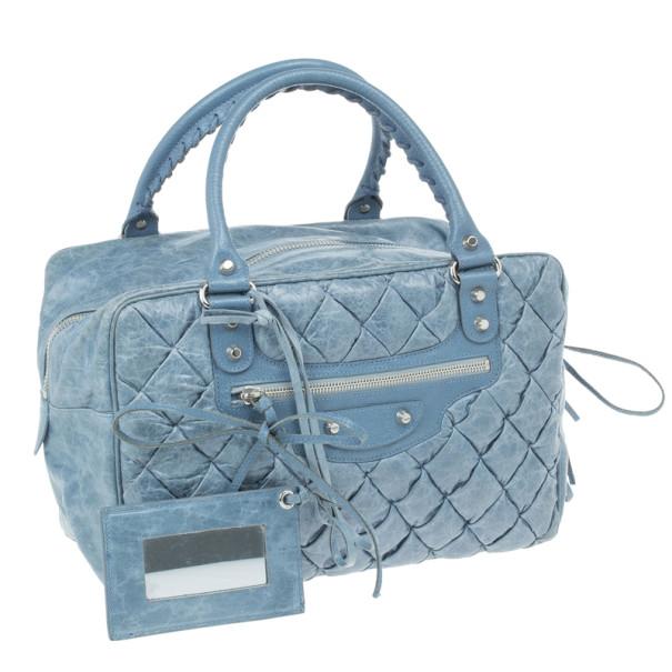 Balenciaga Blue Leather Matelasse Bag