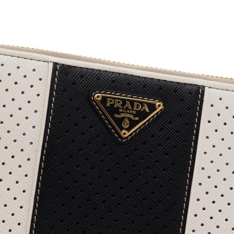 Prada Two Tone Perforated Wallet