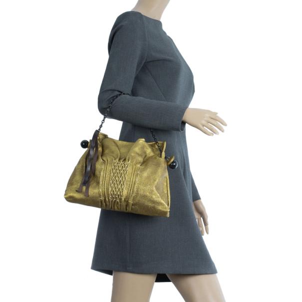 Chloe Gold Leather Pochette