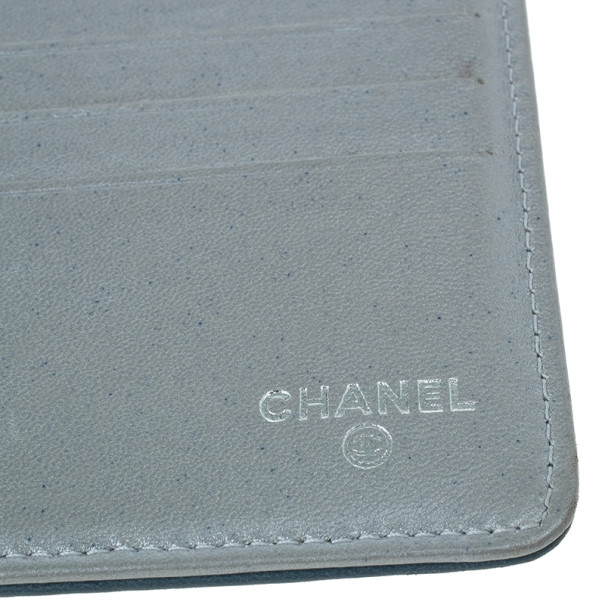 Chanel Blue Lambskin Camellia Flap Wallet
