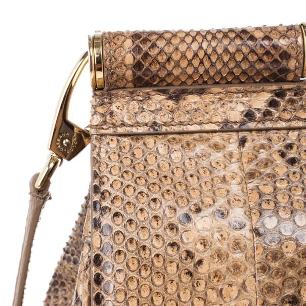 Dolce and Gabbana Gold Python Medium Miss Sicily Satchel