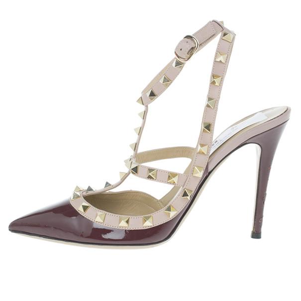 Valentino Burgundy Patent Rockstud Sandals Size 39