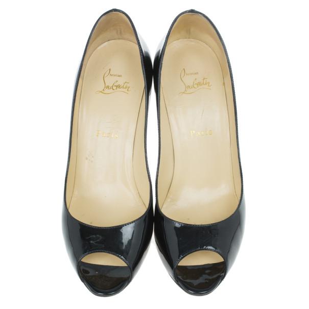 Christian Louboutin Black Patent You You Peep Toe Pumps Size 39.5