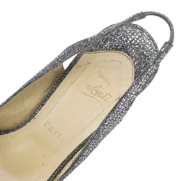Christian Louboutin Black Glittered Jenny Platform Slingback Sandals Size 38