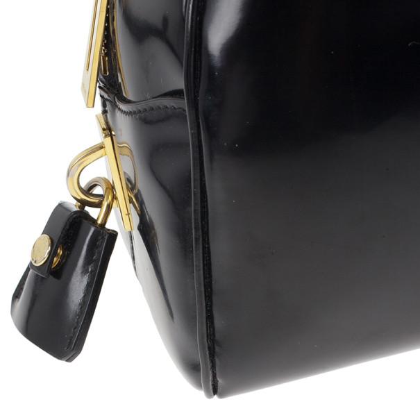 Prada Black Patent Leather Dome Bag