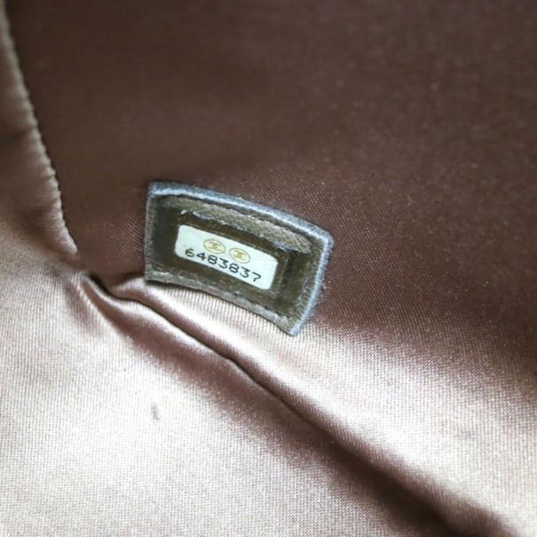 Chanel Brown Nylon Four Leave Clover Single Flap Shoulder Bag