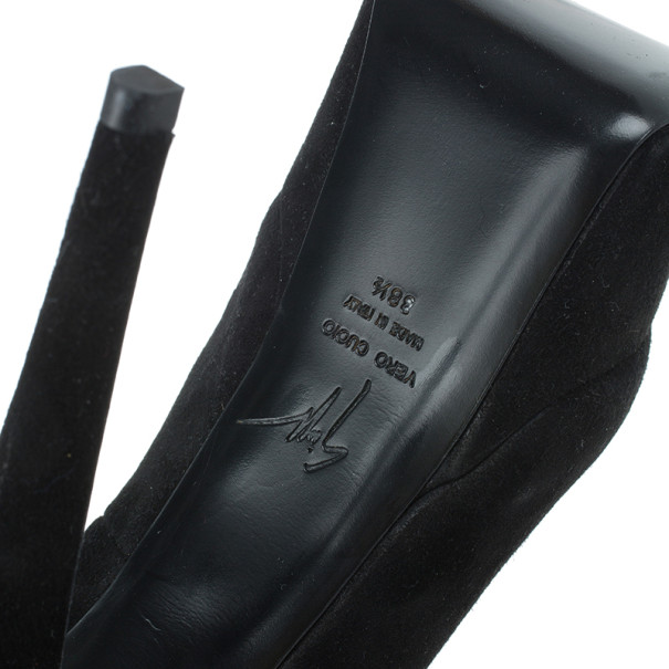 Giuseppe Zanotti Black Suede Debra Bow Platform Pumps Size 38.5