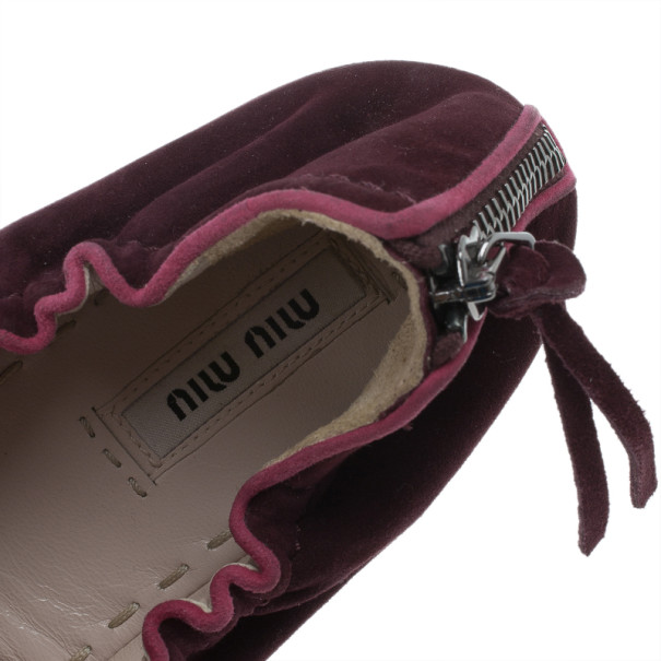 Miu Miu Purple Suede Flower Ballet Flats Size 41