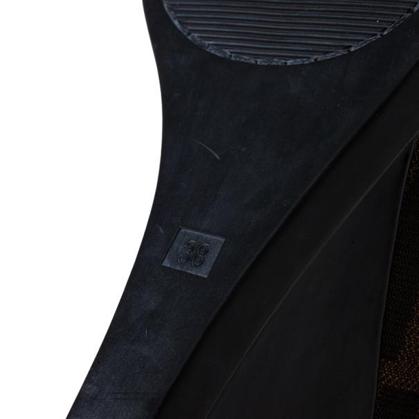 Fendi Tobacco Zucca Canvas Logo Plate Wedges Size 38