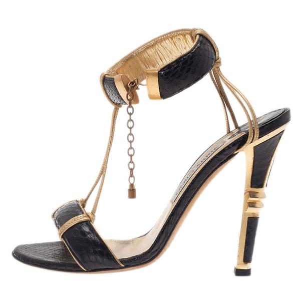 Jimmy Choo Black Python Embossed Ankle Strap Sandals Size 37.5