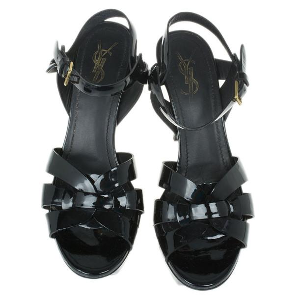 Saint Laurent Paris Black Patent Tribute Platform Sandals Size 38
