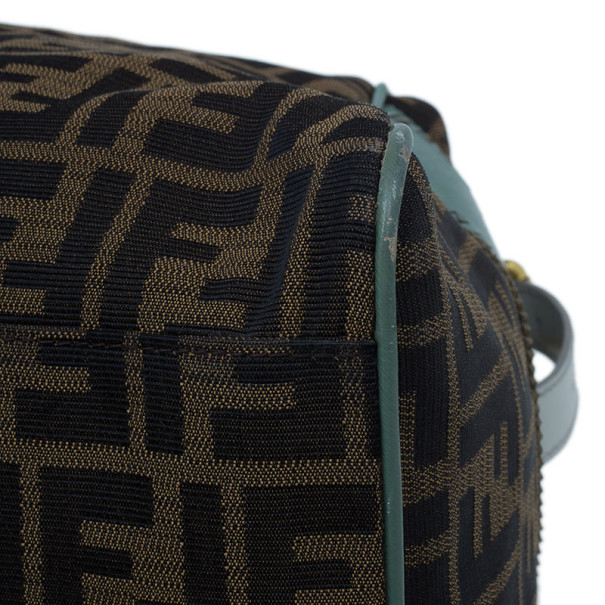 Fendi Tobacco Zucca and Green Trim Large Studded Du Jour Tote