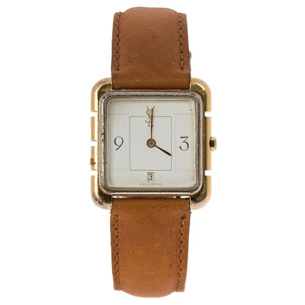 Saint Laurent Paris White Gold-Plated Steel Women's Wristwatch 28MM
