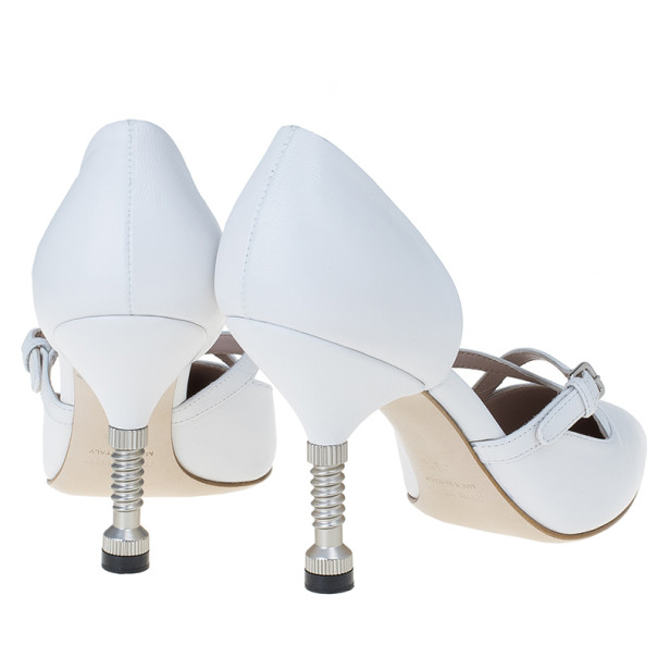 Miu Miu White Leather Pointed Toe Metal Heel D'Orsay Pumps Size 36.5