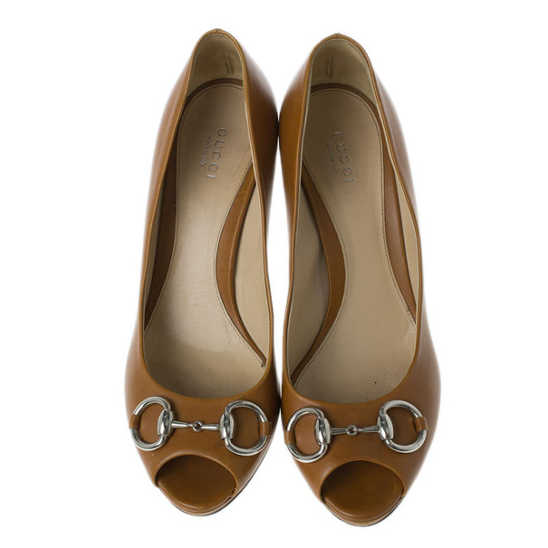 Gucci Brown Leather New Hollywood Horsebit Peep Toe Pumps Size 39