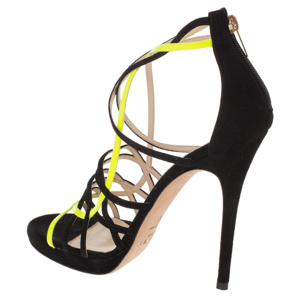 Jimmy Choo Yellow and Black Suede Myth Strappy Sandals Size 40