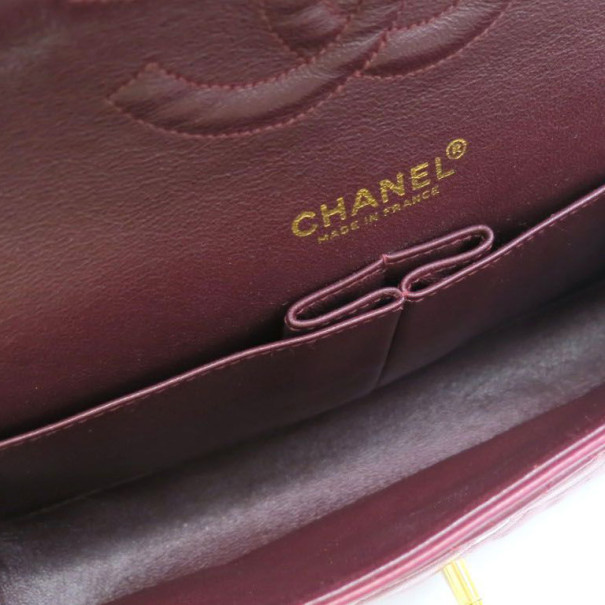 Chanel Maroon Lambskin Matelasse Medium Double Flap Shoulder Bag