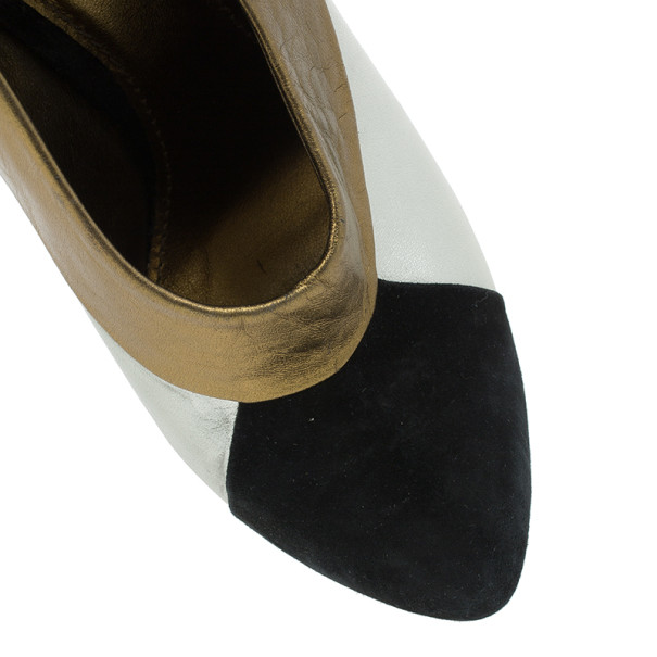 Dolce and Gabbana Three Tone Leather Ankle Booties Size 39
