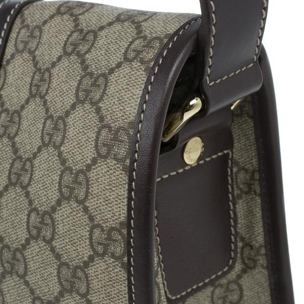 Gucci Brown GG Guccissima Leather Web Stripe Flap Messenger