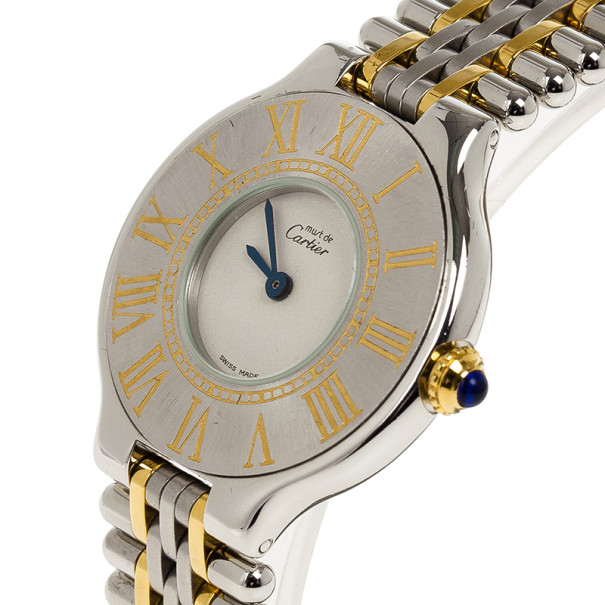 Cartier White Stainless Steel Must de Cartier 21 Women's Wristwatch 28MM