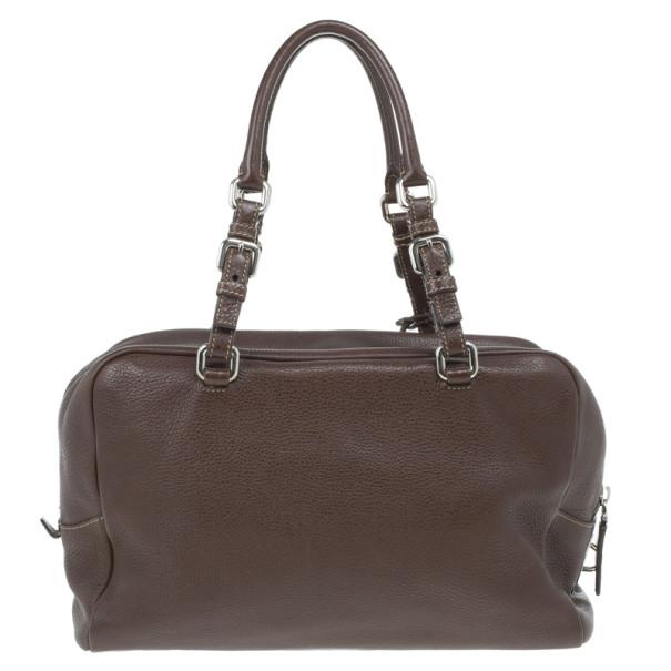 Prada Maroon Deerskin Logo Top Handle Bag