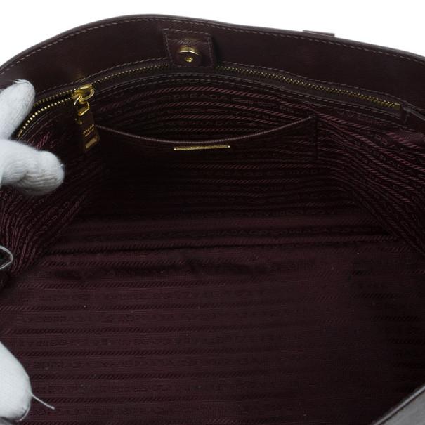 Prada Burgundy Saffiano Lux Tote