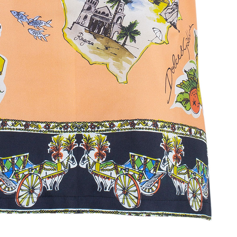 Dolce And Gabbana Orange Sicilia Scarf Print Top M
