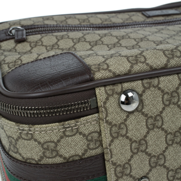 Gucci Beige GG Coated Canvas Boston Travel Bag