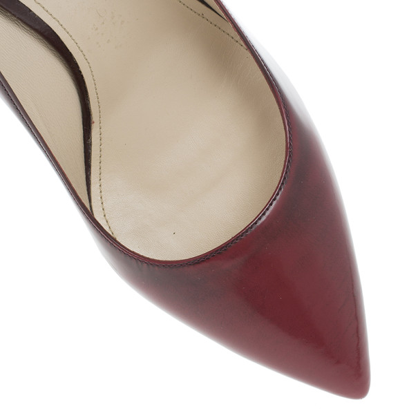 Prada Maroon Leather Pointed Toe Platform Pumps Size 40