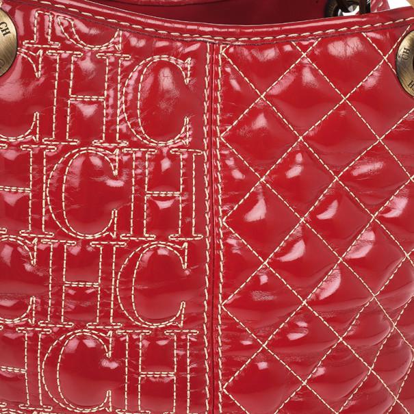 Carolina Herrera Red Quilted Monogram Tote