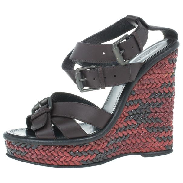 Bottega Veneta Maroon Leather Woven Wedge Sandals Size 37