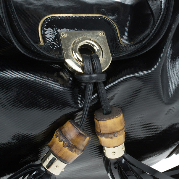 Gucci Black Patent Leather Indy Hobo