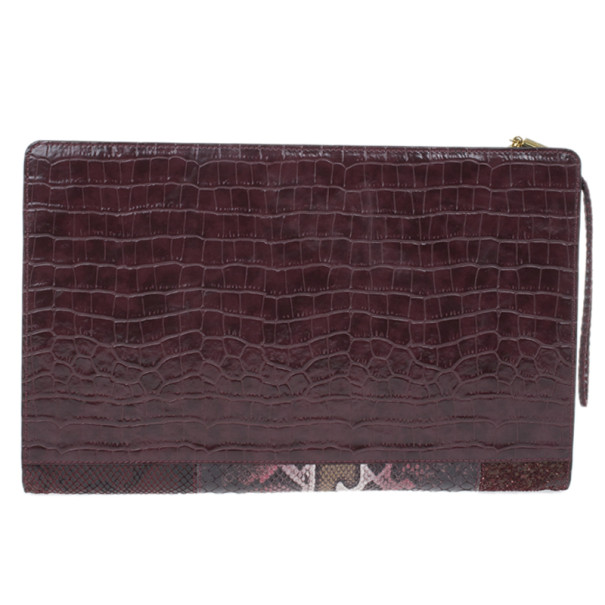 Stella McCartney Red Faux Leather Patchwork Oversized Waverley Clutch