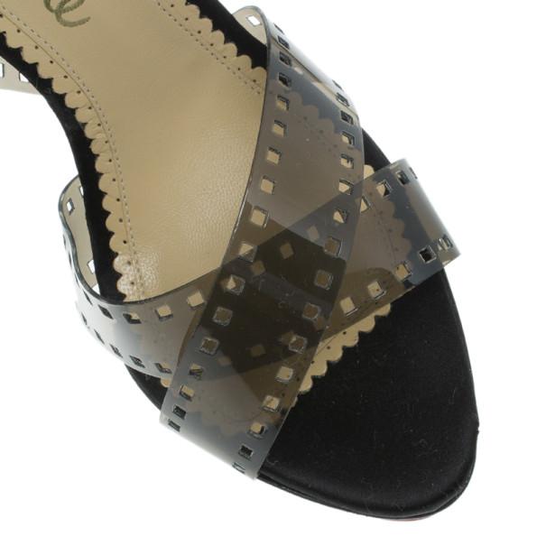 Charlotte Olympia Black Vinyl and Satin Girls On Film Platform Sandals Size 38