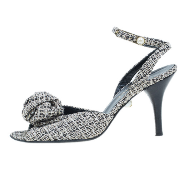 Chanel Tweed Bow Ankle Strap Sandals Size 39.5
