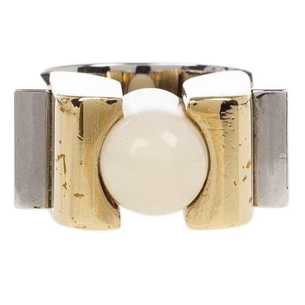 Balenciaga Round Slice Ivory Resin Women's Ring Size 56