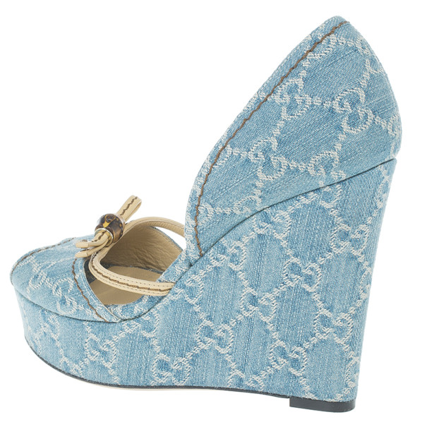 Gucci Guccissima Denim D'orsay Wedges Size 37