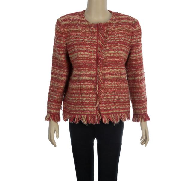 CH Carolina Herrera Collarless Tweed Jacket L