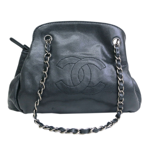 Chanel Black Lambskin Accordion Shoulder Bag
