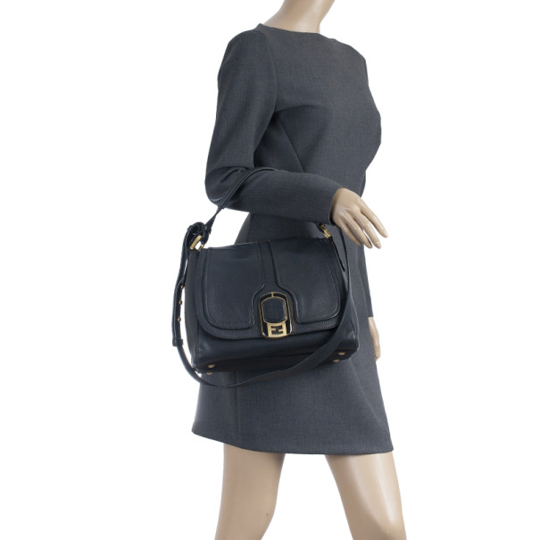 Fendi Black Pebbled Leather Front Flap Crossbody Bag